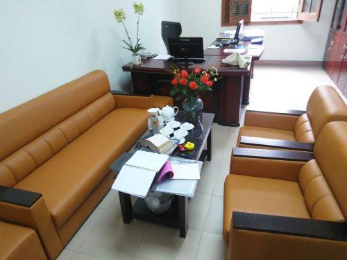 Bộ sofa màu vàng bò của khách hàng ở Đình Nghệ
