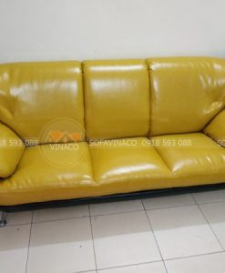 bộ ghế sofa da màu vàng đã hồi xuân