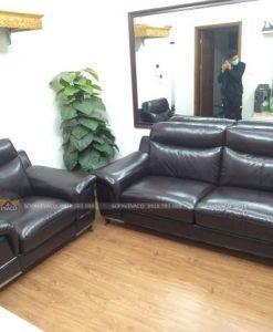 bộ ghế sofa da sau khi được thay mới lớp da cũ