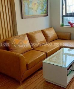 Bộ ghế sofa nhà chị Tâm tại chung cư Bộ ghế sofa góc bọc nỉ nhung của chị Tâm tại chung cư Thái Hà constrexim đã được thay đổi vỏ bọc nỉ sang da