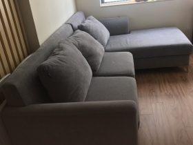Bộ ghế sofa góc bọc nỉ nhung của chị Tâm tại chung cư Thái Hà constrexim