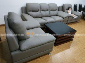 Bộ ghế da sau khi bọc hoàn thiện tại phòng khách chị Phượng tại Victoria, Văn Phú