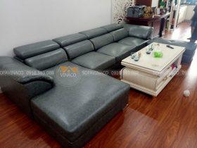 Bộ ghế sofa sau khi được thay lớp da bọc