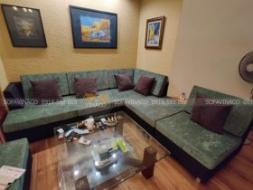 đệm ghế màu xanh rêu kết hợp cung gối màu nâu