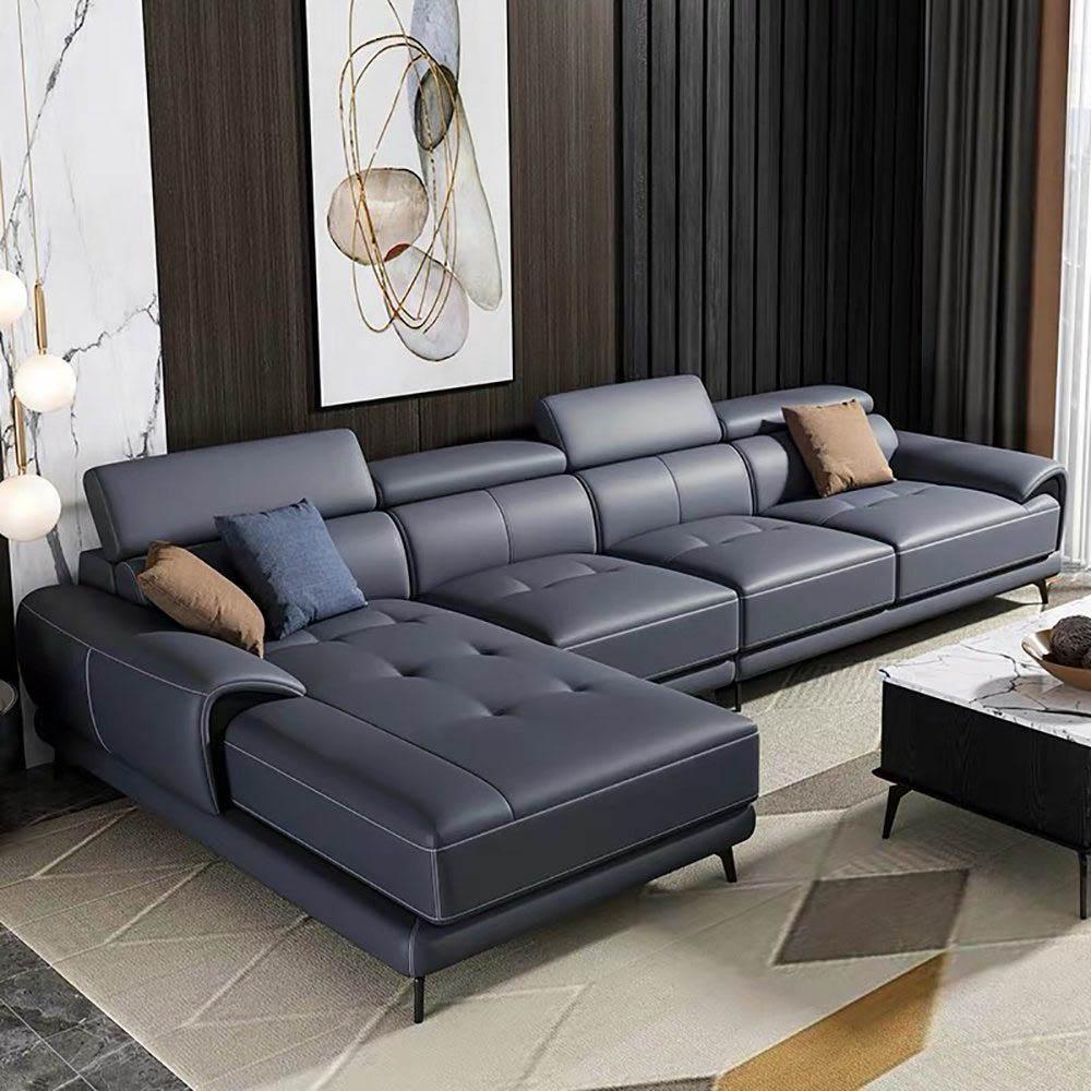 Sofa góc chất liệu da màu xanh hải quân độc đáo và sang trọng cho phòng khách hiện đại