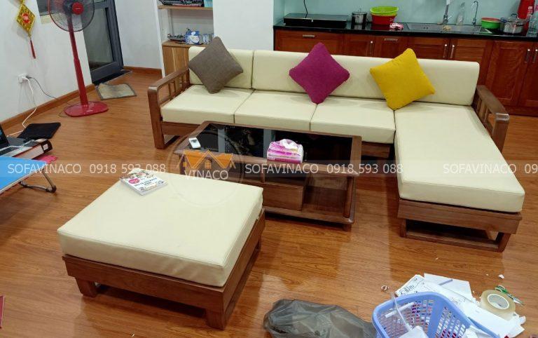 Bộ đệm ghế gỗ sofa l chị Nhung tại Lạc Long Quân, Hà Nội đã hoàn thành