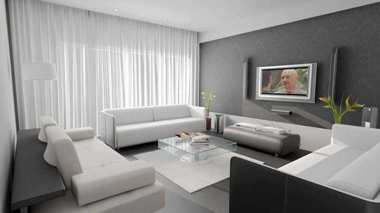 Thảm sàn màu trắng kết hợp với sofa cùng màu được bài trí hài hòa màu sắc trong không gian