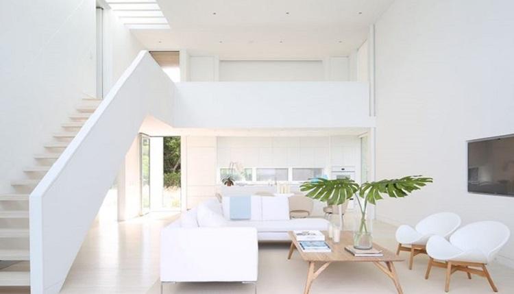 Gam màu trắng được sử dụng nhiều trong thiết kế nội thất