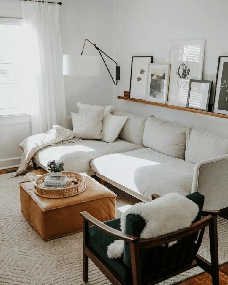 Thảm sàn với gam màu be kết hợp với sofa màu be