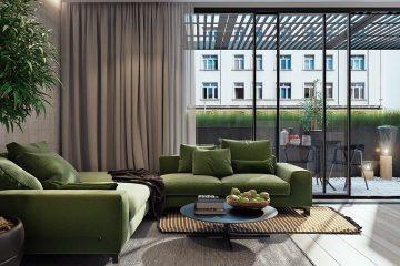 Vẻ đẹp độc đáo của SOFA XANH RÊU cho không gian phòng khách