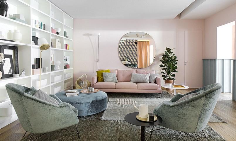 Gam màu pastel rất dễ sử dụng trong trang trí gia đình vì vậy dù có là người vụng về hay không tinh tế bạn vẫn có thể tạo ra được một căn phòng khách ưng ý thế này.