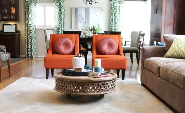 Sofa đơn màu cam tiện nghi, thanh lịch cho phòng khách