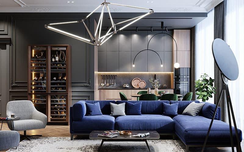 Ý tưởng thiết kế nội thất với gam màu xnah cổ điển