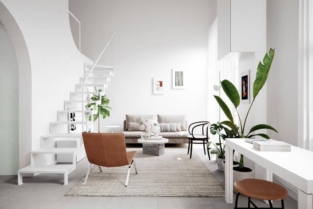 Không gian được sơn màu trắng kết hợp với những gam àu khác nhau từ những món đồ nội thất