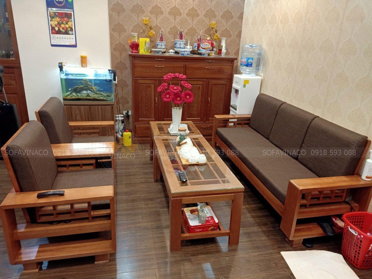 Đệm ghế gỗ cho chị Hương tại chung cu C3 Nguyênc Cơ Thạch đã bàn giao