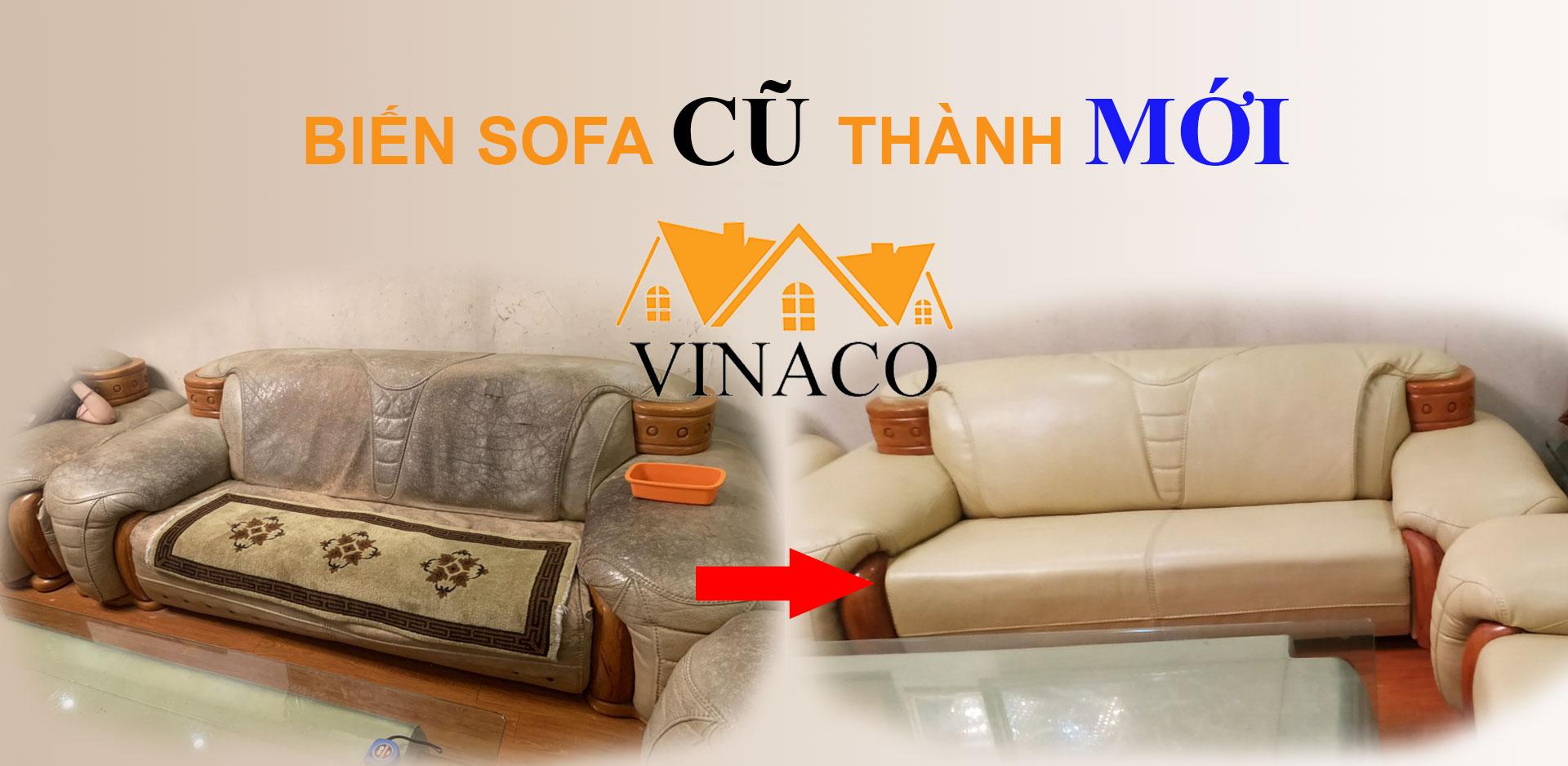 Banner bọc ghế sofa cũ thành mới của vinaco