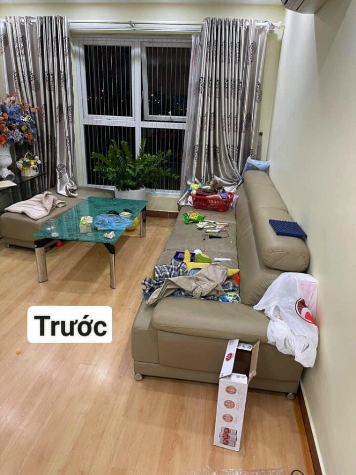 Tình trạng bộ ghế sofa da của chị Hà tại Mỹ Đình, Hà Nội